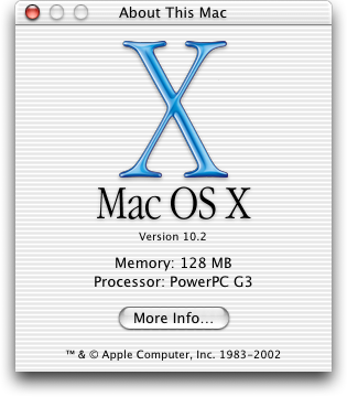 About GUI in Mac OS X Jaguar (About This Mac)