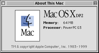 About GUI in Mac OS X DP 2 (About This Mac)