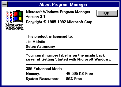 About GUI in Windows 3.1 (About Program Manager)