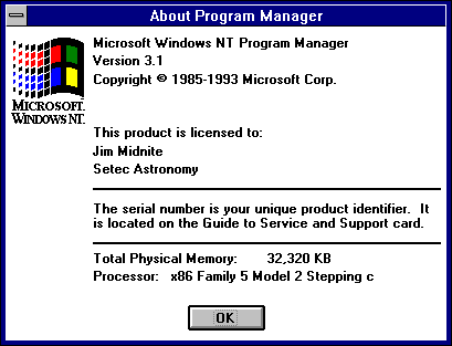 About GUI in Windows NT 3.1 Workstation (About Program Manager)