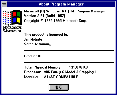 About GUI in Windows NT 3.51 Workstation (About Program Manager)