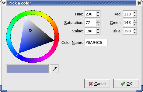 Colour selector in GNOME 2.2.0 in RedHat 9