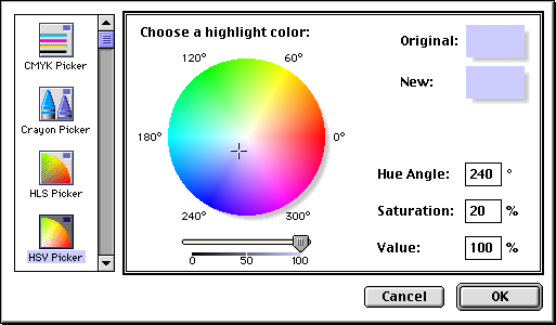 Colour selector in Mac OS 8.0