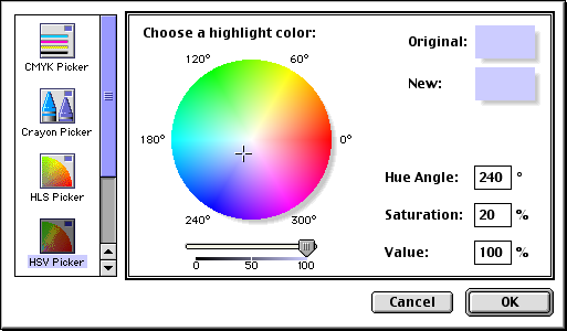 Colour selector in Mac OS 9.0