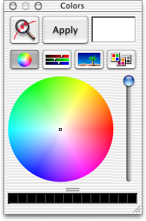 Colour selector in Mac OS X Public Beta