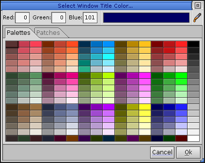 Colour selector in QNX 6.2.1 NC
