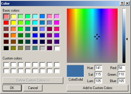 Colour selector in Windows 2000 Pro