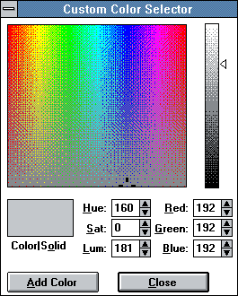 Colour selector in Windows 3.0