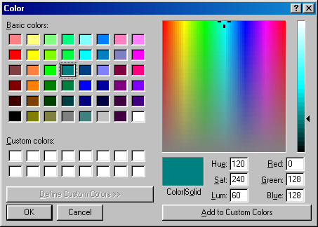 Colour selector in Windows 98 SE