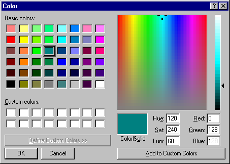 Colour selector in Windows NT 4.0 Server