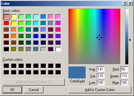 Colour selector in Windows Server 2003 Web