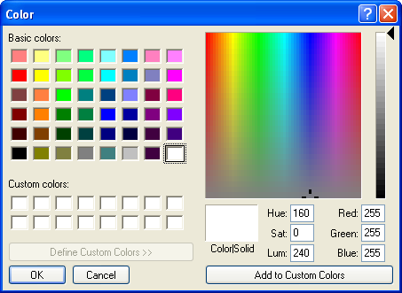 Colour selector in Windows XP Pro