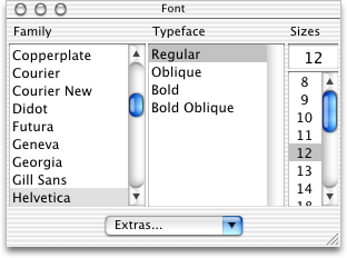 Font selection in Mac OS 10.0.4