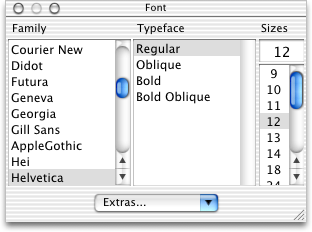 Font selection in Mac OS 10.1