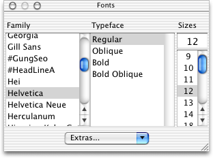 Font selection in Mac OS X Jaguar