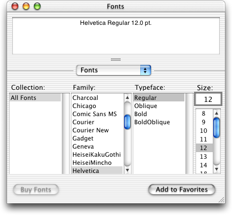 Font selection in Mac OS X Public Beta