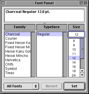 Font selection in Rhapsody DR2