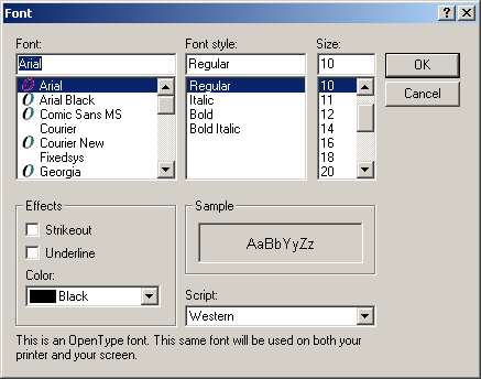 Font selection in Windows 2000 Pro