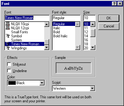 Font selection in Windows 95