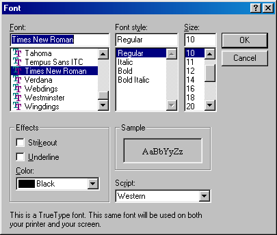 Font selection in Windows 98 SE