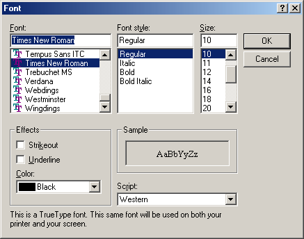 Font selection in Windows Me