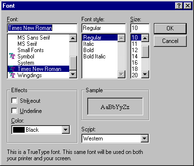 Font selection in Windows NT 4.0 Server