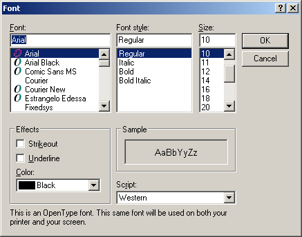 Font selection in Windows Server 2003 Web