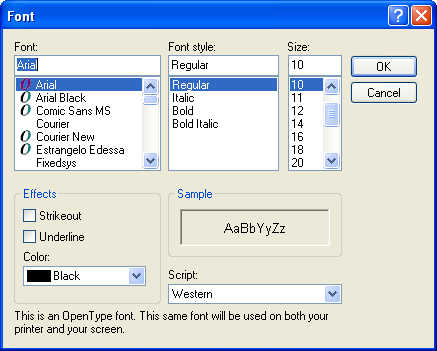 Font selection in Windows XP Pro