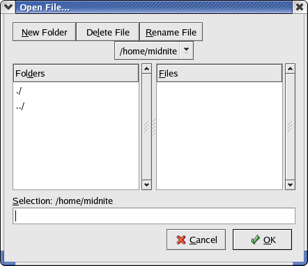 Open file in GNOME 2.2.0 in RedHat 9 (Open File...)