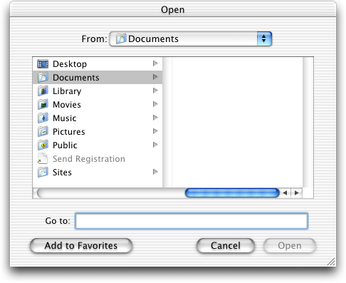 Open file in Mac OS 10.1 (Open)