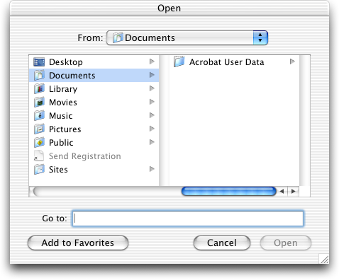 Open file in Mac OS X Jaguar (Open)