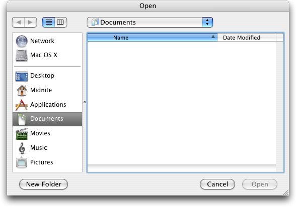 Open file in Mac OS X Panther (Open)