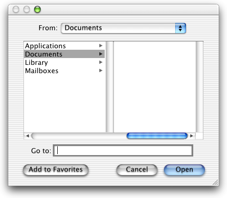 Open file in Mac OS X DP 3