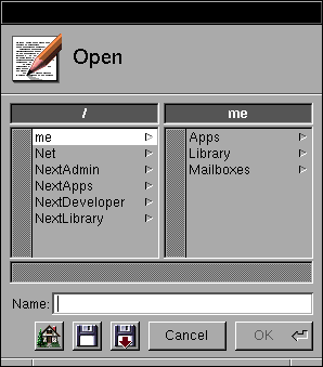 Open file in OPENSTEP 4.2 (Open)