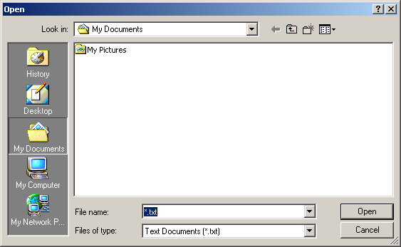 Open file in Windows 2000 Pro (Open)