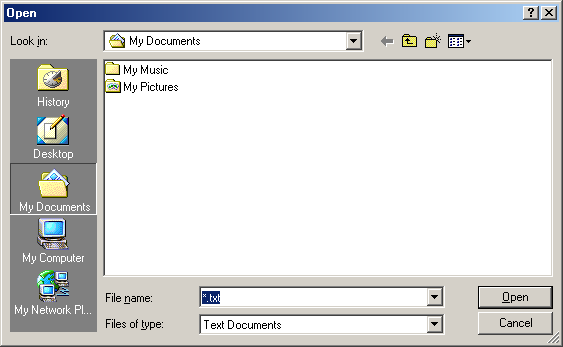 Open file in Windows Me (Open)
