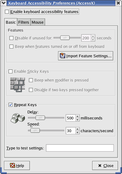 Accessibility in GNOME 2.2.0 in RedHat 9 (Keyboard Accessibility Preferences)