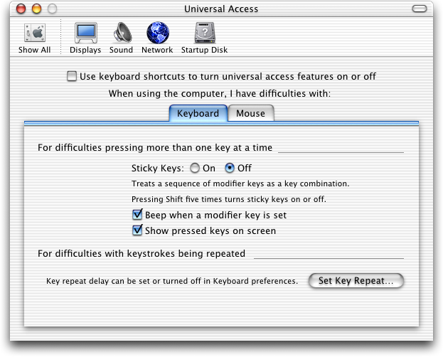 Accessibility in Mac OS 10.1 (Universal Access)