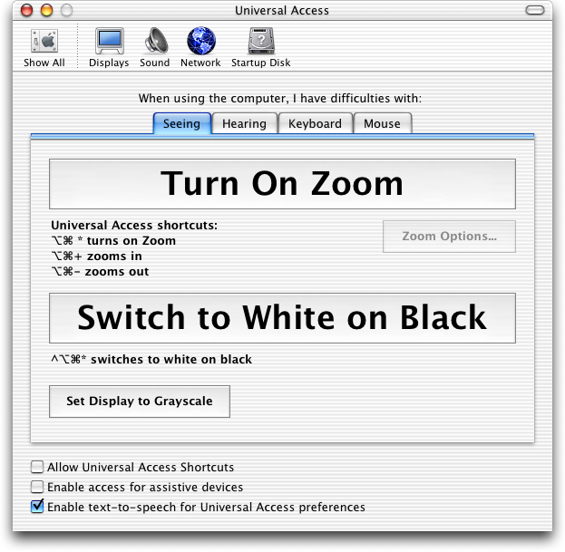 Accessibility in Mac OS X Jaguar (Universal Access)