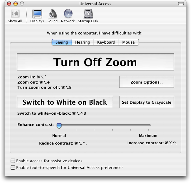 Accessibility in Mac OS X Panther (Universal Access)