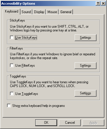 Accessibility in Windows Server 2003 Web (Accessibility Options)