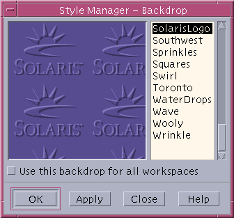 Appearance in CDE 1.5 in Solaris 9 (Style Manager – Backdrop)