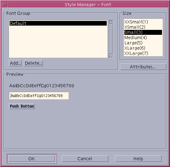 Appearance in CDE 1.5 in Solaris 9 (Style Manager – Font)