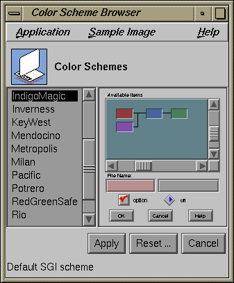 Appearance in IRIX 5.3 (Color Scheme Browser)