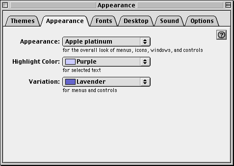 Appearance in Mac OS 9.0 (Appearance)