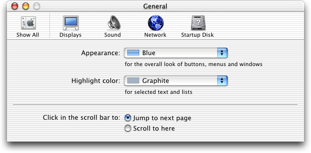 Appearance in Mac OS 10.0.4 (General)