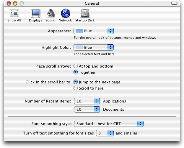 Appearance in Mac OS X Jaguar (General)