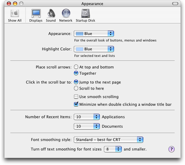 Appearance in Mac OS X Panther (Appearance)