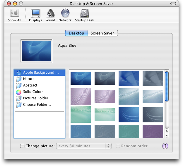 Appearance in Mac OS X Panther (Desktop & Screen Saver)