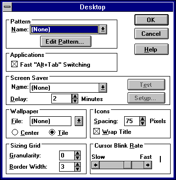 Appearance in Windows 3.1 (Desktop)